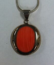 Sterling Silver Coral Serpentine Pendant Necklace - 20 - Mexico 925