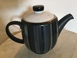 Denby Langley Jet Stripes Teapot With Lid, 5 Cup. Made In England