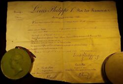 King Louis Philippe I Signed Patent On A Large Vellum With Large Wax Seal - 1844