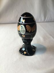 Rare Fenton Art Glass Black Egg Butterfly And Hearts With Gold Ltd Hp Signed 950
