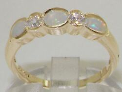 Solid 18ct Yellow Gold Natural Opal And Diamond Modern Eternity Band Ring