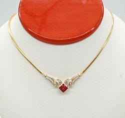 Uno Aerre Vintage 18k Yellow Gold Ruby And Diamonds Necklace. 17 Long