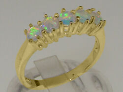 18ct 750 Yellow Gold Natural Opal Womens Eternity Ring - Sizes J To Z