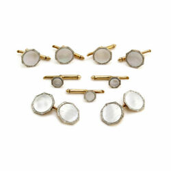 C.d. Peacock Art Deco Mother-of-pearl Cufflink Set In Gold And Platinum