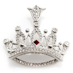 Designer Signed Queen Baby Ruby And Diamond Pave Crown Pendant 14k White Gold