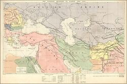 Poster, Many Sizes Map Of Middle East Turkish Empire Persia 1886