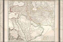 Poster, Many Sizes Map Of Middle East Persian Empire 1740 In French