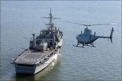 Poster Many Sizes Rq-8a Fire Scout Helicopter Uav Drone Uss Nashville Lpd 13