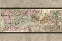 Poster, Many Sizes Map Of The Chesapeake And Ohio Railroad 1873