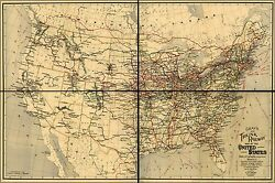 Poster Many Sizes Railroad Map Of United States Canada 1898