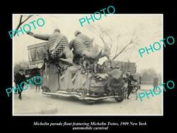 Old 8x6 Historic Photo Of Michelin Man Tires Parade Float New York C1909