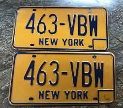 Classic Orange License Plate Of New York 463-vbw Par Great Collection