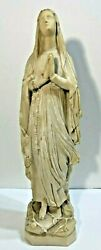 ☩  OUR LADY MARY MADONNA OF LOURDES ANTIQUE STATUE FIGURINE 20 38'' TALL☩