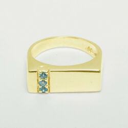 18ct 750 Yellow Gold Natural Blue Topaz Mens Band Ring - Sizes N To Z
