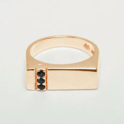 18ct 750 Rose Gold Natural Sapphire Mens Band Ring - Sizes N To Z