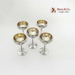 Repousse Hand Chased Grape Wine Goblets Gilt Interior E G Webster Silverplate