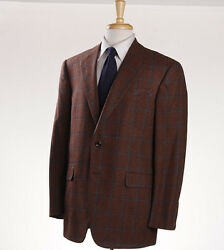 NWT $3295 OXXFORD HIGHEST QUALITY Rust Check Wool-Cashmere Sport Coat 40 R