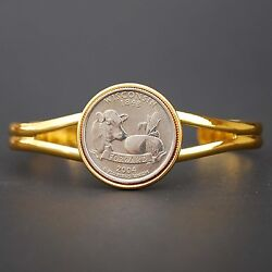 Us 2004 Wisconsin State Quarter Coin Gold Plated Cuff Bracelet - Beautiful