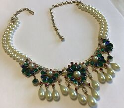 VINTAGE TRIFARI SIGNED JEWELS OF INDIA FAUX PEARL & RHINESTONE DANGLING NECKLACE