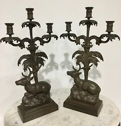 Antique Cast Iron Stag Candelabra Candlestick Holder Gothic Rustic Figural Pair