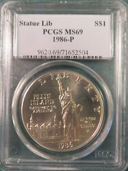 1986-p Pcgs Ms69 Statue Of Liberty Silver Dollar Commem. - Free Shipping