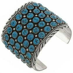Navajo Natural Turquoise 5 Row Cluster Bracelet Sterling Silver S6.5-8.5 L Begay