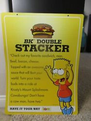 2007 The Simpsons Movie Burger King Bart Simpson Sign Store Display Advertising