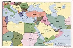 Poster, Many Sizes Cia Map Of Middle East Iraq Iran Israel 1990 P1