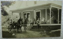 Rppc Postcard Man On Horse Drawn Hay Mower In Front Of Home 33