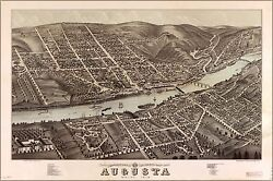 Poster Many Sizes Birdseye View Map Of Augusta Maine 1878