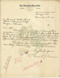 Old Vintage Fort Dearborn Town Club Chicago Illinois 1926 Letter Letterhead