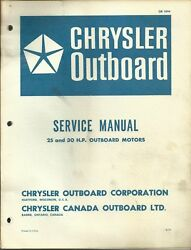 Chrysler Outboard Marine Boat Service Manual 25 And 30 Hp Motors Ob 1894