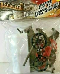 Classic Toy Western Play Set Covered Wagon 10pc Set New Cake Topper, Play Set