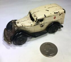 Very Rare Arcade 1939 Cast Iron Chevy Panel Truck Ambulance Toy Rubber Tires