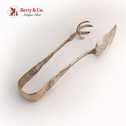 Grape Large Serving Tongs Coin Silver 1860