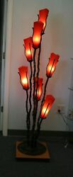 Wrought Iron Floor Lamp And 7 Signed Mouth Blown Red Glass Shades