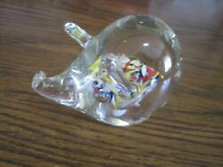 Vintage Murano Confetti Glass Pig Paperweight