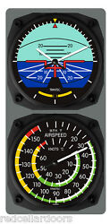New Trintec Artificial Horizon Clock And Airspeed Indicator Thermometer Console