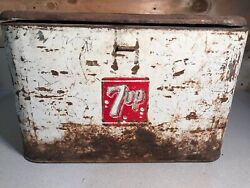 Vintage 1950s 7up White Metal Cooler Ice Chest