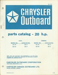 Chrysler Outboard 20 Hp Model 202he 203he 202be 203be Parts Catalog Ob 1781
