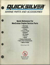 Quicksilver Marine 1992 Quick Reference For Engine Parts P/n 90-823935-92