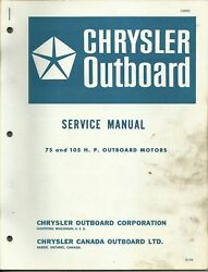 Chrysler Outboard Marine Boat Service Manual 75 And 105 Hp Motors Ob 981
