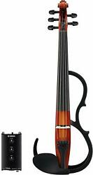 YAMAHA Silent Electric Violin SV255 5 Strings Brown AC  Battery Powered NEW