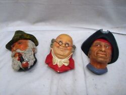 Lot 3 Vintage Bossons Chalkware Wall Figure Busts Pickwick Captain Kid Tyrolean
