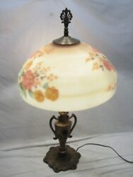 Antique Reverse Painted Glass Lamp Shade Ornate Victorian Cast Iron Light