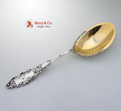 Luxembourg Pudding Berry Spoon Decorate Gilt Bowl Gorham Sterling Silver 1893 Mo