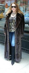 Dark Brown High Quality Mink 52 Fur Coat Double Breasted Look 12-14 16 Mint