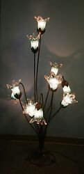 11 Lights Wrought Iron Floor Lamp Green Crackled Glass Shades
