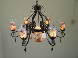 ART DECO STYLE HAND MADE WROUGHT IRON  CHANDELIER & PURPLE BLOWN GLASS SHADES