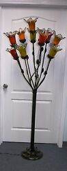 Hand Made Wrought Iron Floor Lamp Assorted Glass Shades Made 1
